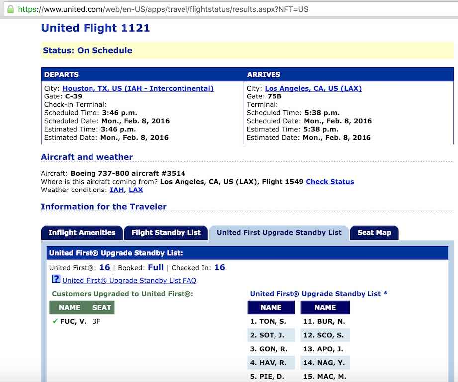 United Airlines Standby list - Website - Upgrade Standby List