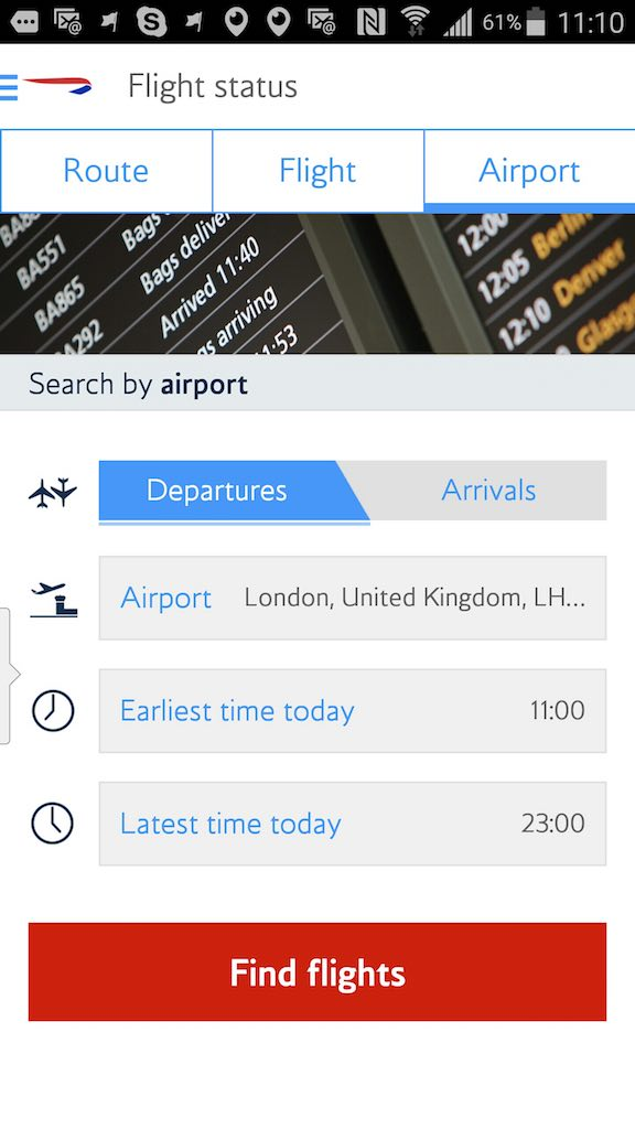 British Airways (BA) - Standby list - App - Flight Status - Airport