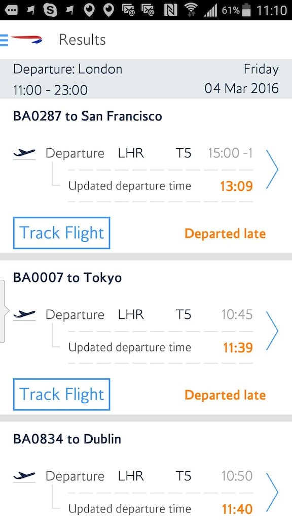 British Airways - Standby list - App - Flight Status - Airport List - Result