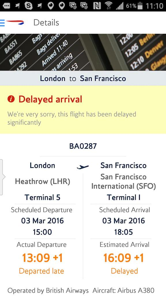 British Airways (BA) - Standby list - App - Flight Status - Result