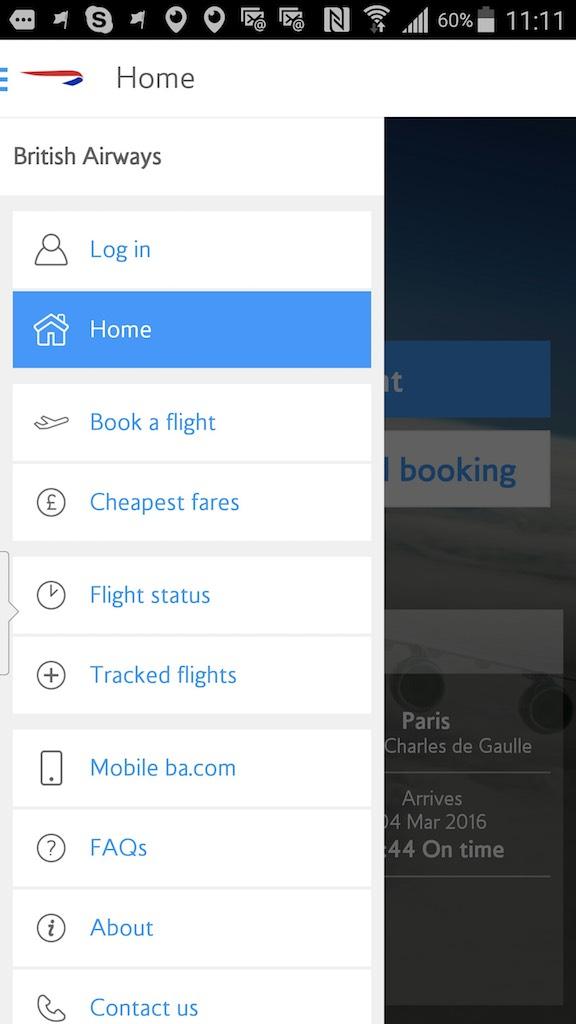 British Airways (BA) - Standby list - App - Home - Options
