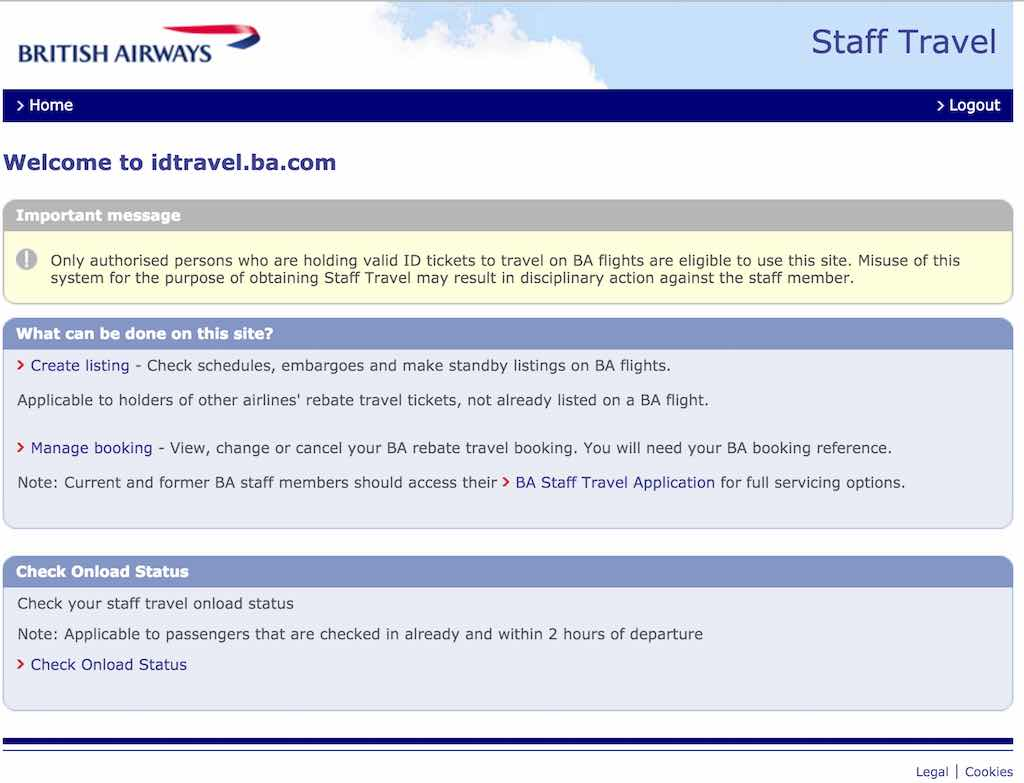 British Airways (BA) - Standby List - Website - Staff Travel