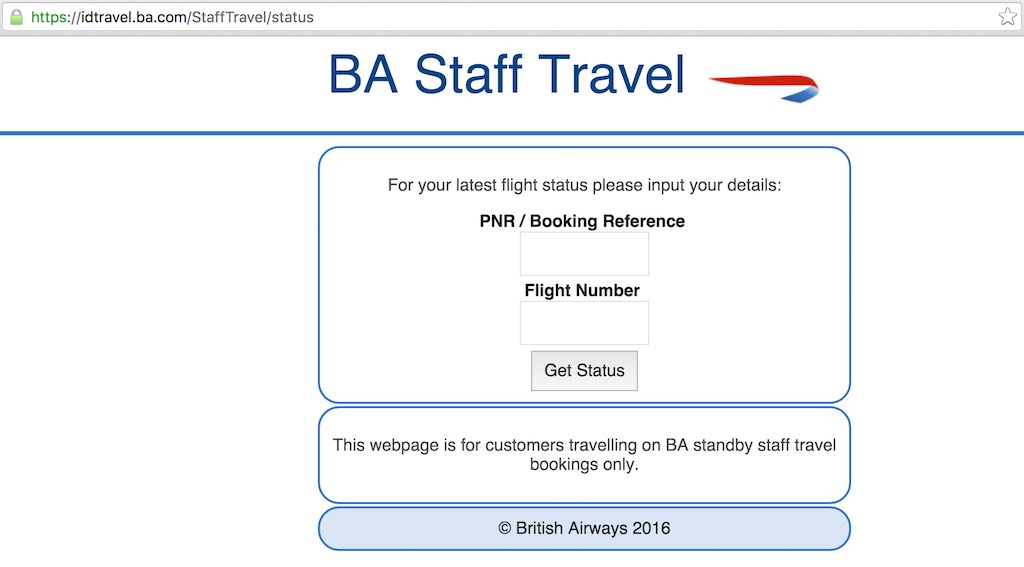 British Airways (BA) - Standby List - Website - Staff Travel - View Reservations