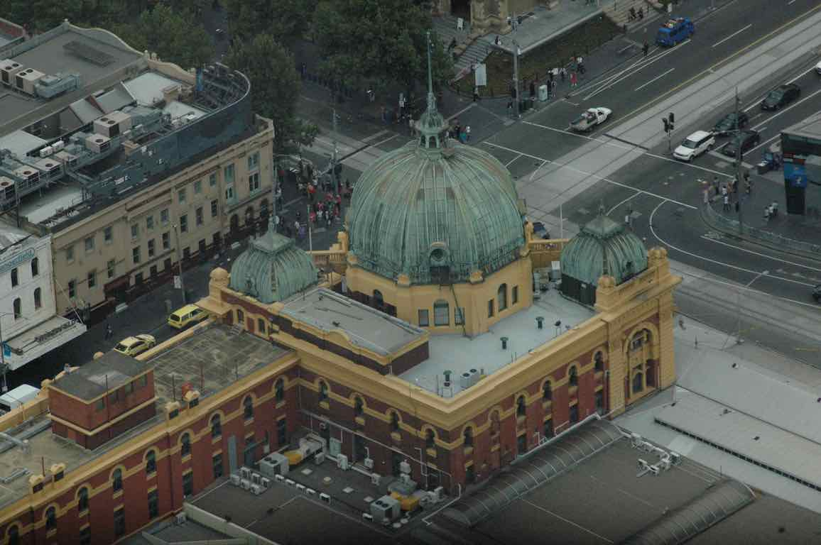 A view of Flinders station from the Eureka Tower