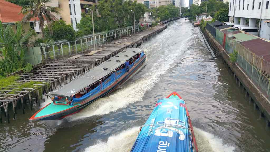 Two Khlong Boats in Bangkok, Thailand