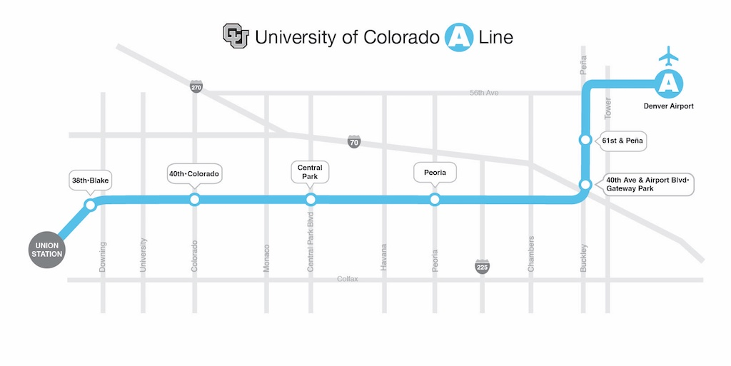 University of Colorado A Line. Copyright ©The Regional Transportation District. All rights reserved.
