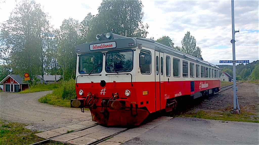 Inlansbanan-Train Arriving in Vilhelmina Train station