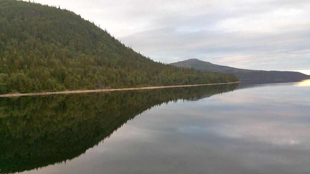 River in Saxnas, Sweden near sunset