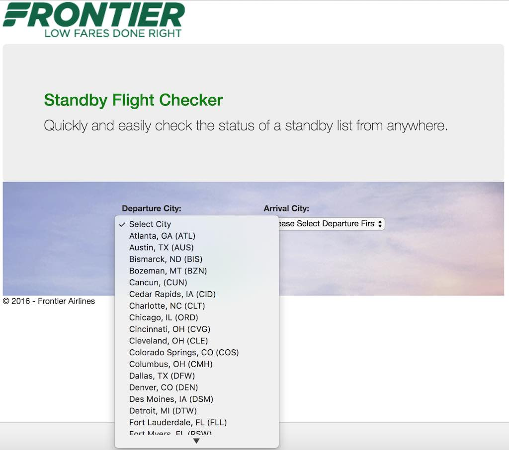 Frontier Airlines Standby checker City List (F9)