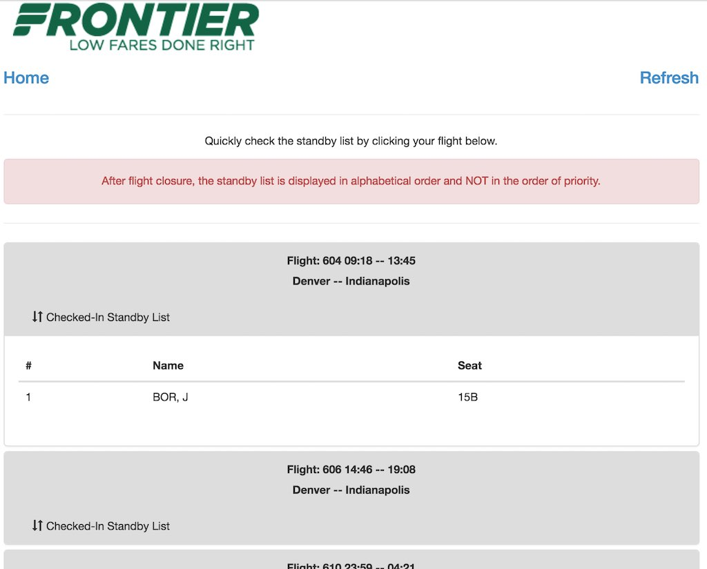 Frontier Airlines Standby Checker Position List (F9)