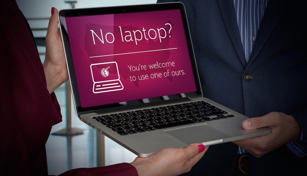 Qatar Airways (QR) Electronics ban complimentary laptop