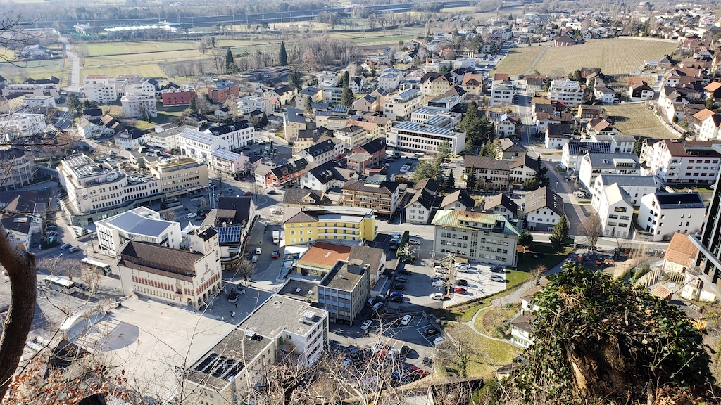 Vaduz, Liechtenstein - view of city from Vaduz Castle area