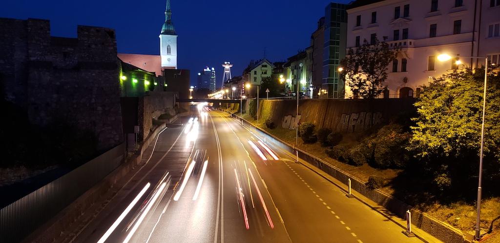 Bratislava, Slovakia - Roadway at Night
