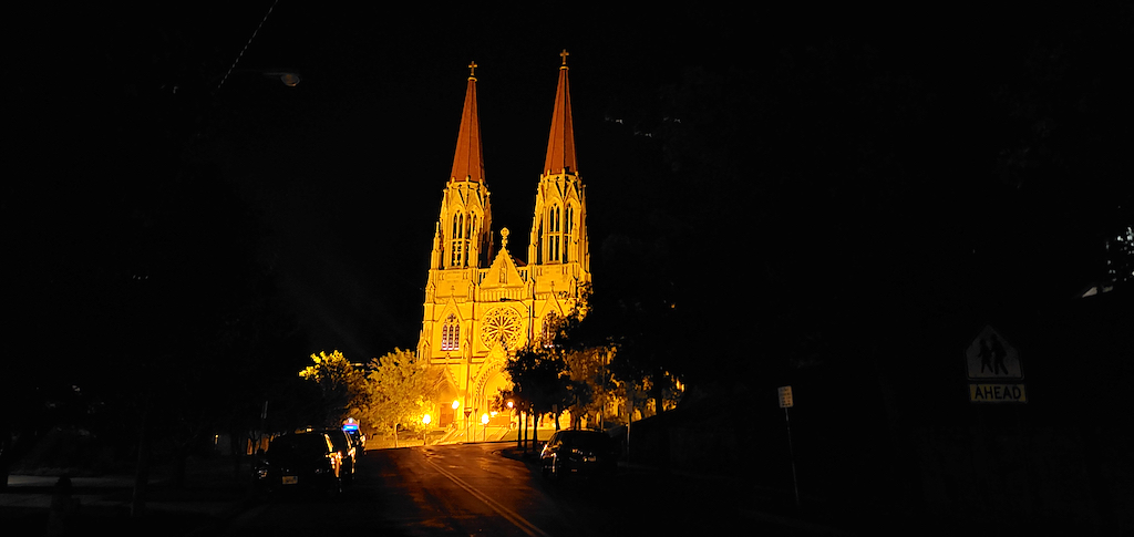 Cathedral of St. Helena in Helena, Montana at night