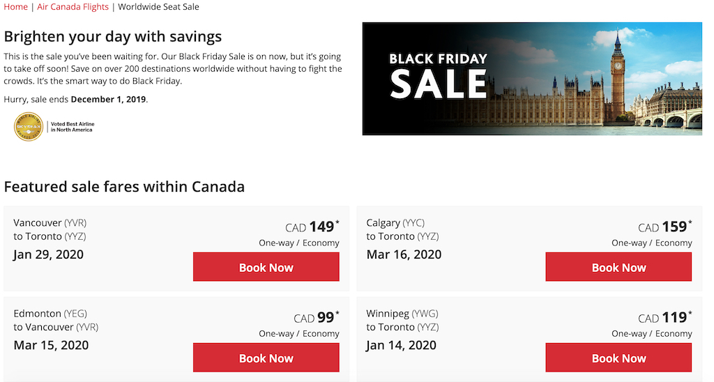 Air Canada Black Friday Travel Deals