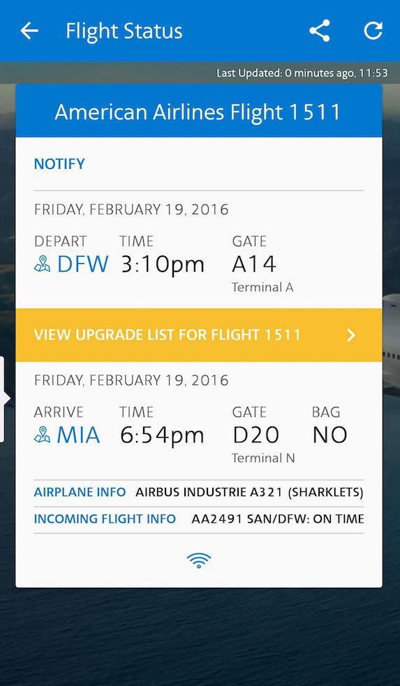 American Airlines - Flight Loads - Mobile App - Upgrade List