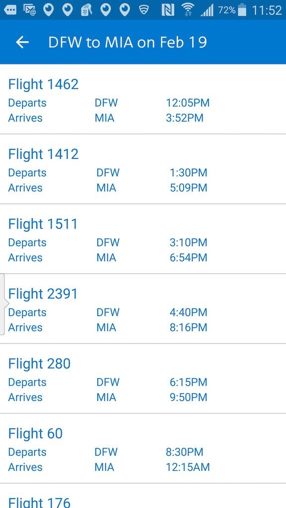 American Airlines - Flight Loads - Mobile App - Flight Search Results