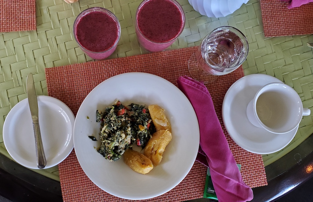 Antigua and Barbuda - Breakfast salted fish and callaloo and boiled plantains