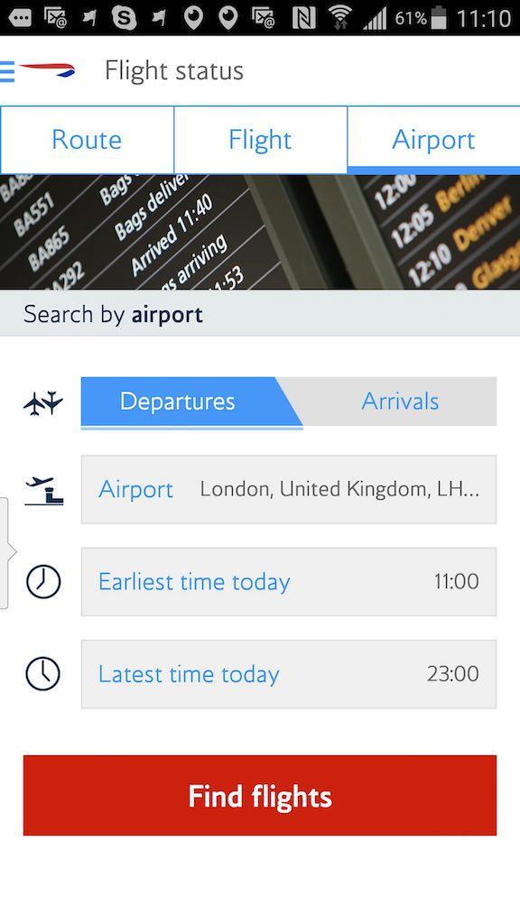 British Airways (BA) - Standby list - App - Flight Status - Airport
