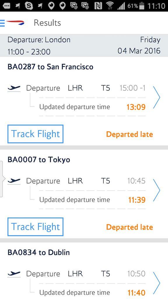 British Airways - Standby list - App - Flight Status - Airport List - Result