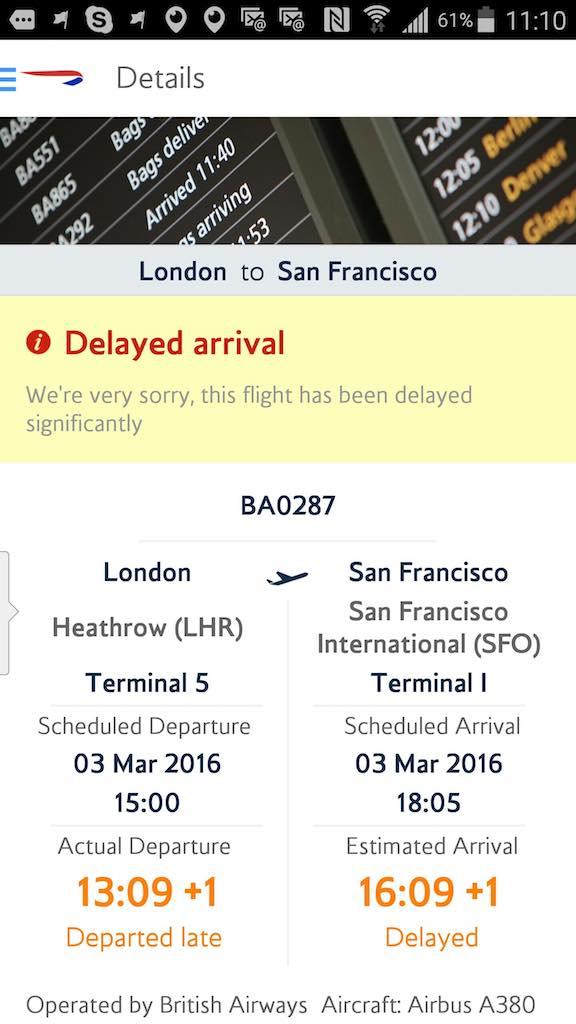 British Airways (BA) - Standby list - App - Flight Status - Result