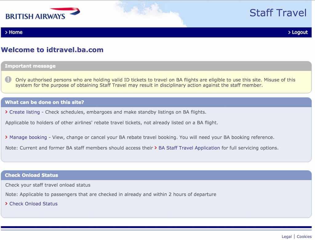 British Airways (BA) - Standby List - Website - Staff Travel