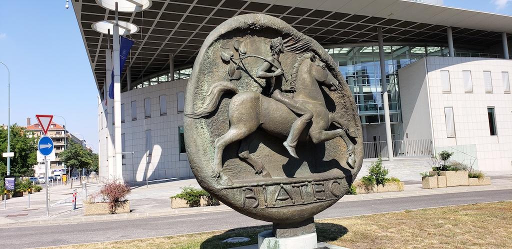 Bratislava, Slovakia - Monument to The Coin Biatec Bratislava