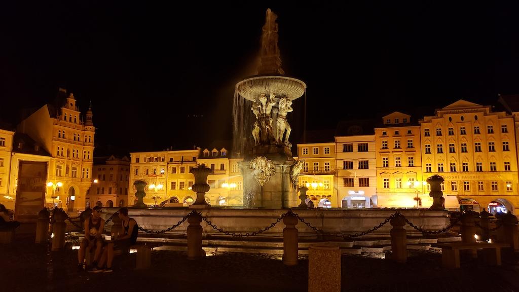 České Budějovice, Czech Republic The Samson Fountain in the The Old Town Square