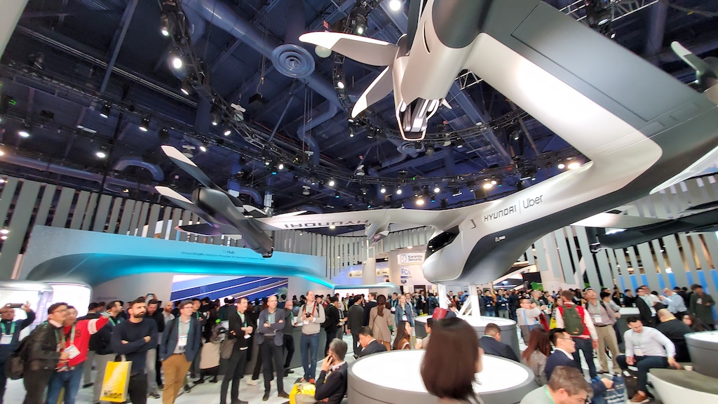 CES 2020 Hyundai Uber Flying Vehicle Left Rear Side