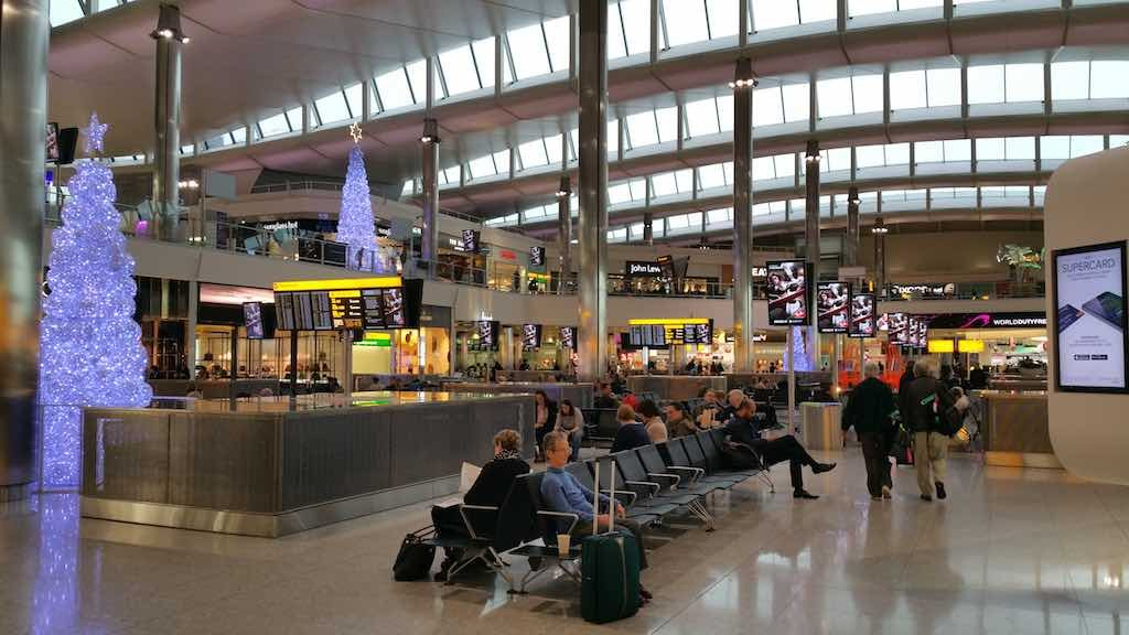 ChristmasTrees at the Departure Level in London-Heathrow's Queens Terminal 2