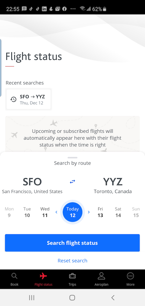 Flight Loads Air Canada SFO to YYZ 12 Dec App flight status