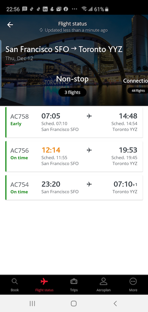 Flight Loads Air Canada SFO to YYZ 12 Dec App Flight Status Results