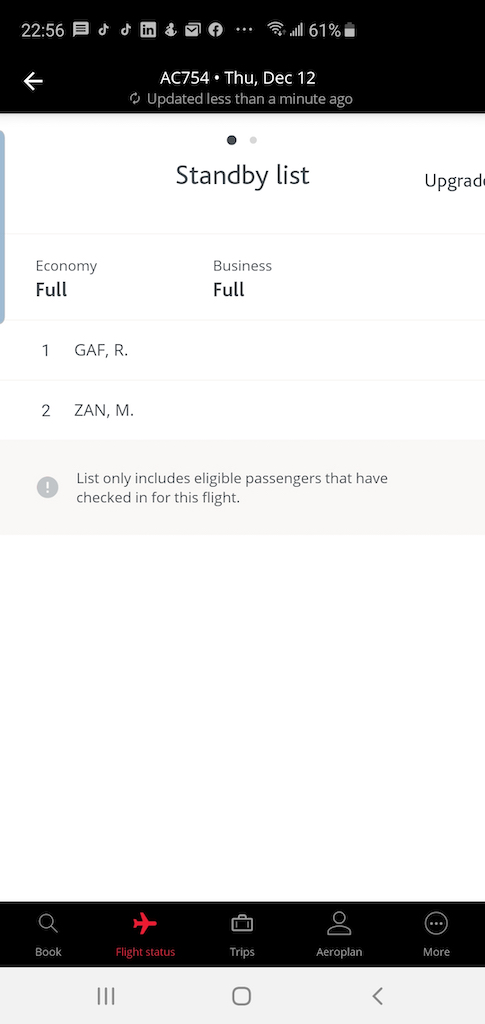 Flight Loads Air Canada SFO to YYZ 12 Dec App Flight Status Results Standby List