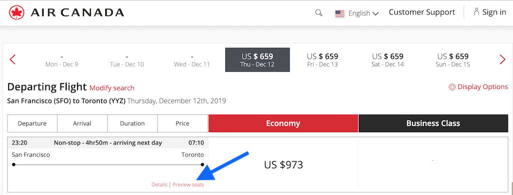 Flight Loads - Air Canada SFO to YYZ 12 December Flight Search Preview Seats