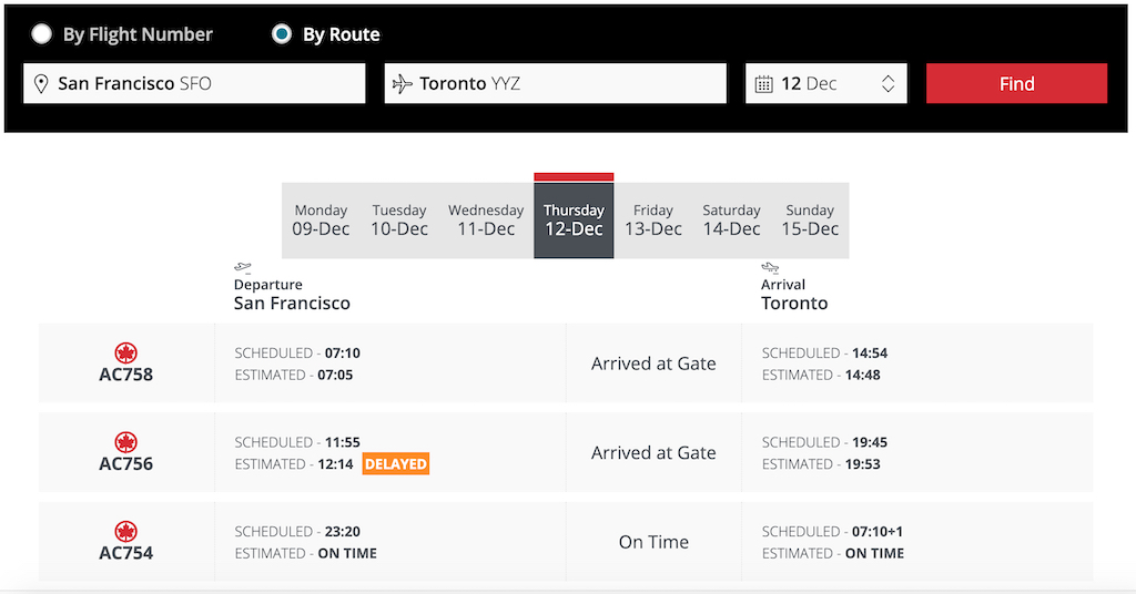 Flight Loads - Air Canada SFO to YYZ 12 December Flight Status Results