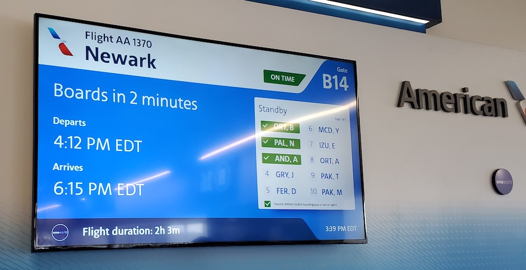 Flight Loads American Airlines Airport Gate Display