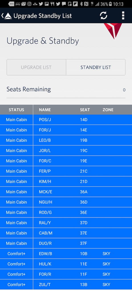 Flight Loads: Delta App Standby list