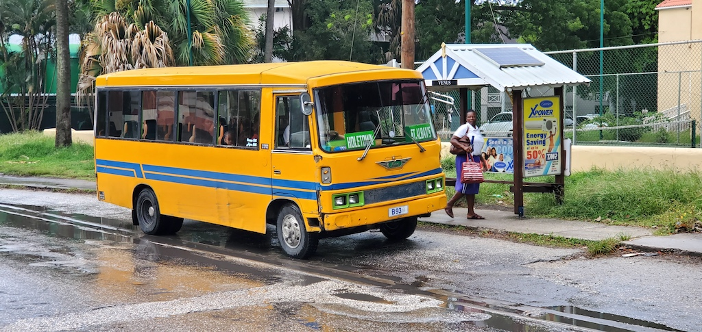 Holetown yellow bus in Barbados