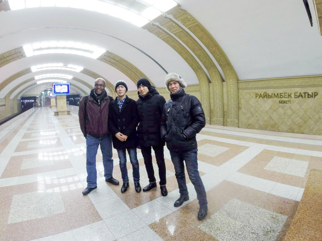 Kerwin and Kazakhs in subway in Almaty, Kazakhstan