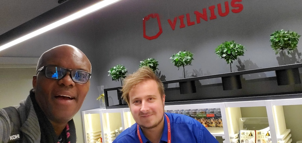 Kerwin and Vilnius Airport Tourist Board Agent