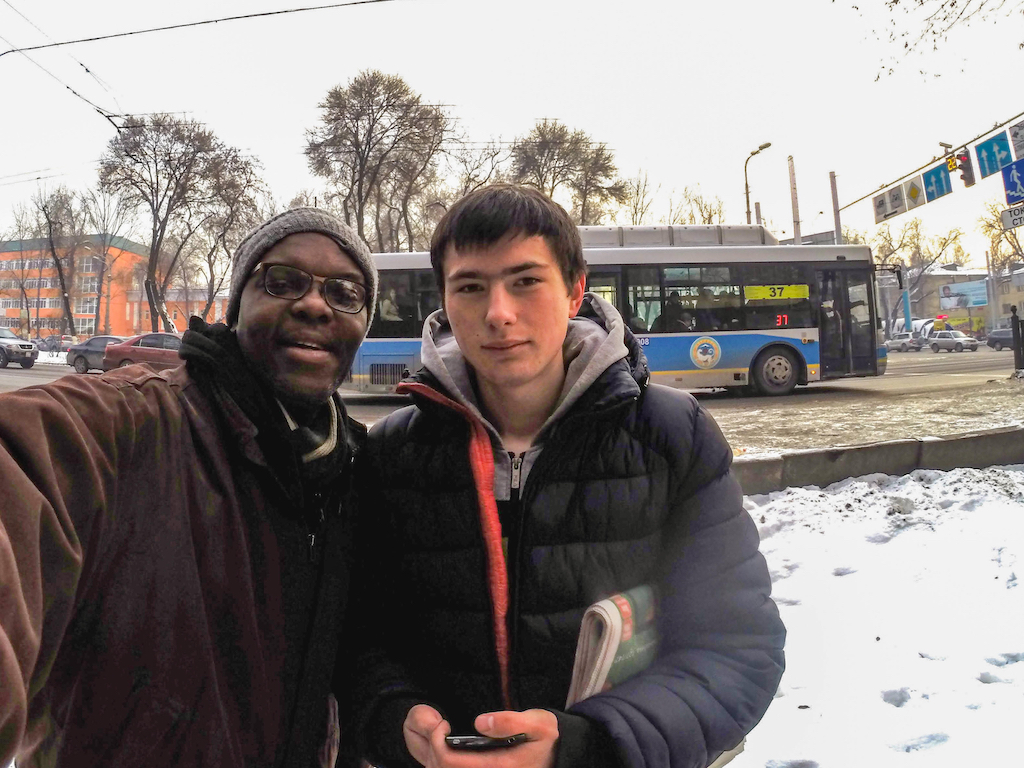 Kerwin and young Russian guy in Almaty, Kazakhstan