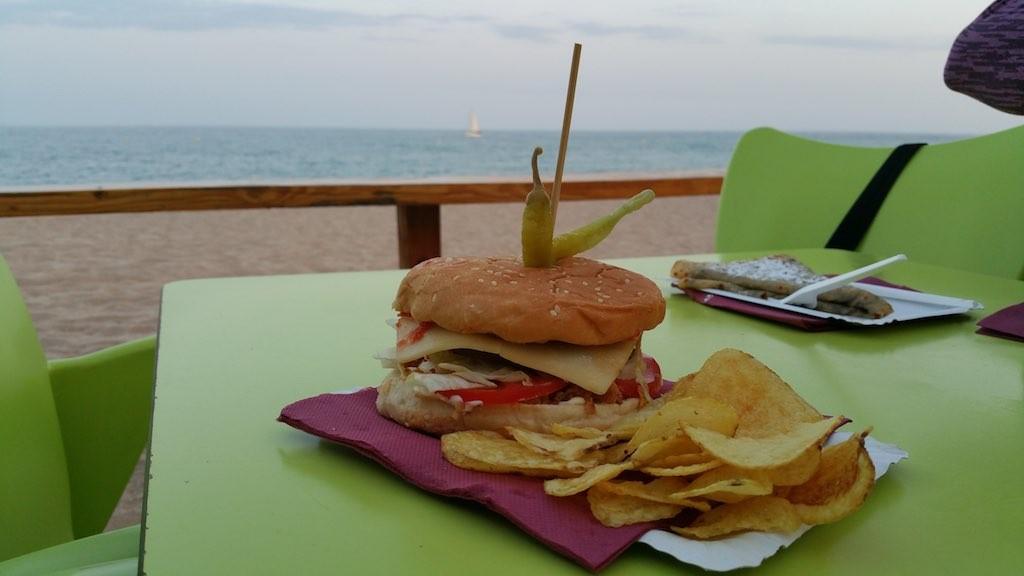 Lloret de Mar, Spain - Burger and Chips