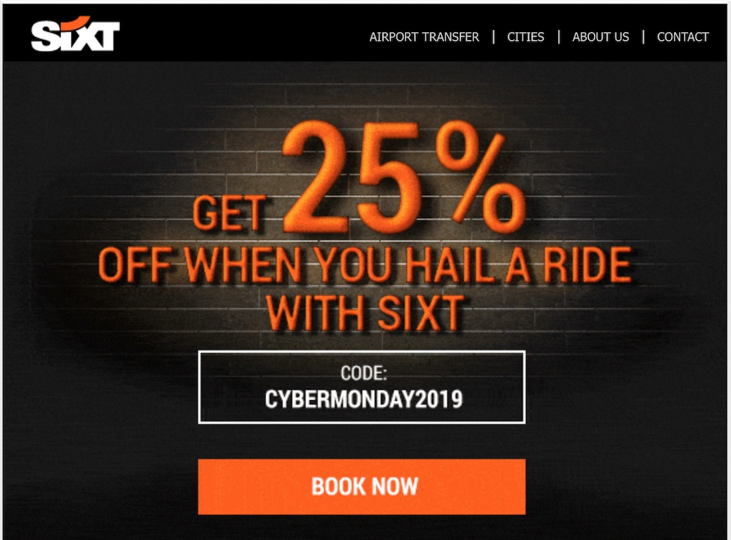 SixT Cyber Monday 2019 Travel Deal