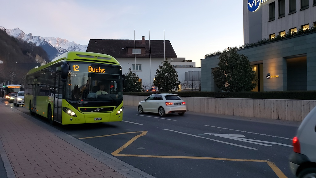 Vaduz, Liechtenstein - Number 12 Bus To Buchs, Switzerland from Vaduz