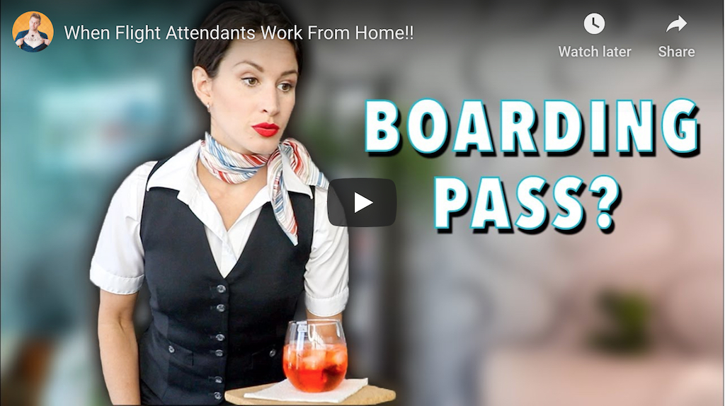 When Flight Attendants Work From Home Video