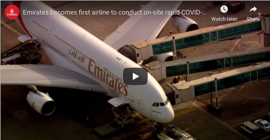Emirates Test Passengers Using Quick COVID-19 test