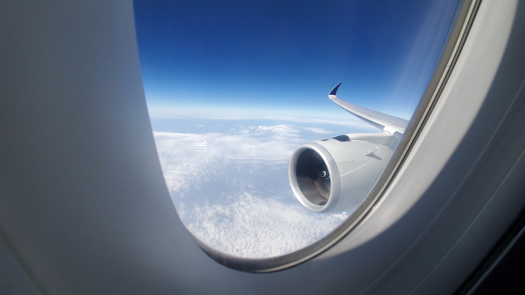 Looking out the window of the Singapore Airlines (SQ) AIrbus A350-900ULR
