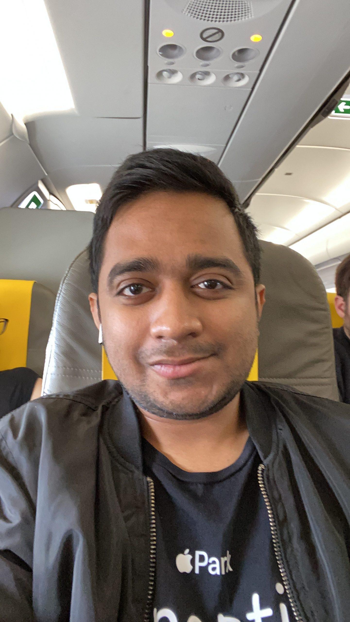 Ram Kumar - Repatriation flight. Ram on a plane
