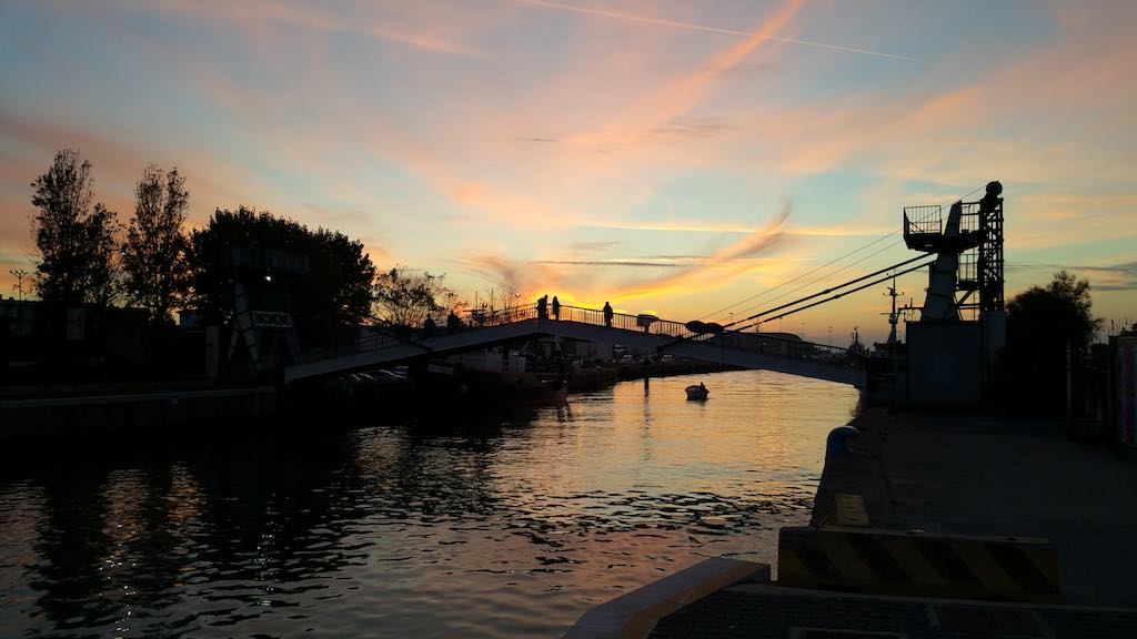 Fiumicino, Italy sunset at the river
