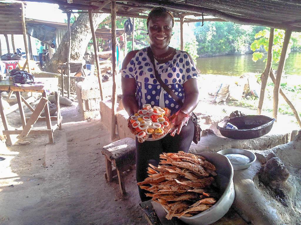 Lady selling fish at Borders
